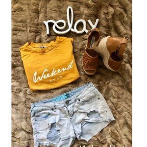 Roxy Ripped Denim Shorts